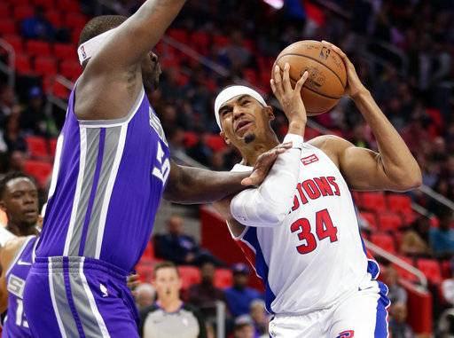 Detroit Pistons forward Tobias Harris (34) goes to the basket against Sacramento Kings forward Zach Randolph (50) during the first half of an NBA basketball game Saturday, Nov. 4, 2017, in Detroit.