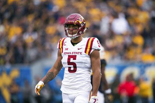 Iowa State wide receiver Allen Lazard stands on the field during the second half of an NCAA college football game against West Virginia in Morgantown, W.Va., Saturday, Nov. 4, 2017.