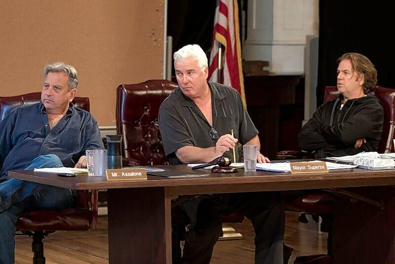 "William Petersen, center, rehearses for the world premiere of Tracy Letts' ""The Minutes"" alongside Jeff Sill, left, and fellow Steppenwolf Theatre ensemble member Kevin Anderson."
