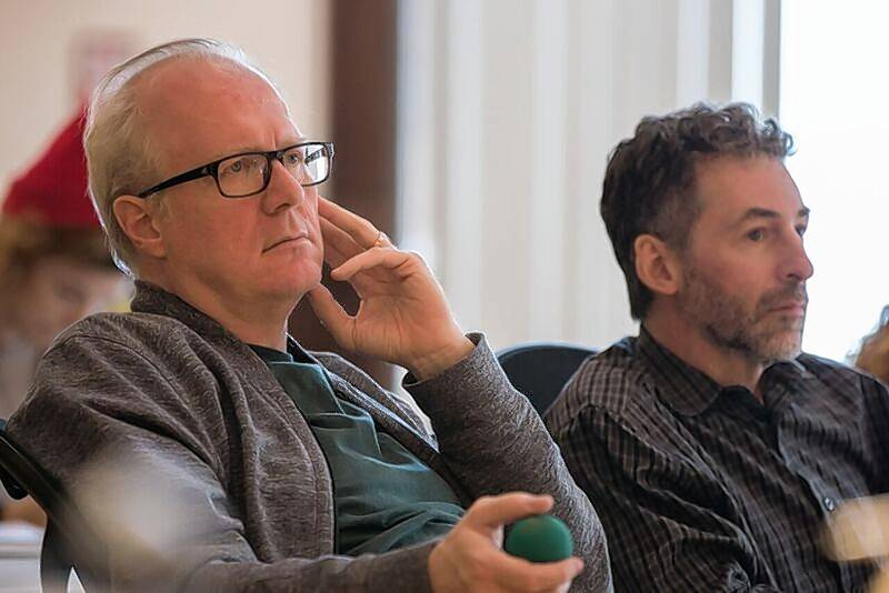 "Playwright Tracy Letts, left, and dramaturge Ed Sobel watch a rehearsal of Letts' new play, ""The Minutes."""