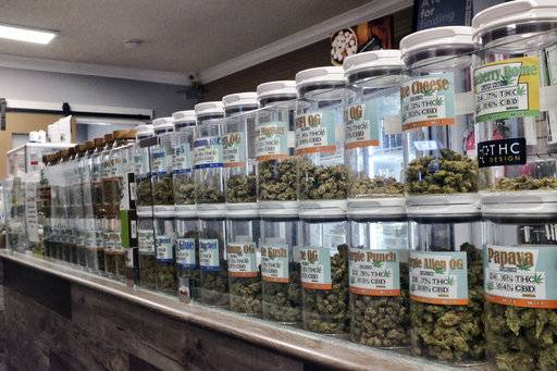 This Friday, Nov. 3, 2017 photo shows jars of medical marijuana on display on the counter of Western Caregivers Medical marijuana dispensary in Los Angeles. Consumers eager for the coming of California's legal recreational marijuana market should be ready for sticker shock. An array of new taxes and fees will be attached to pot sales, driving up prices.
