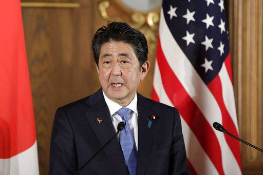 Japanese Prime Minister Shinzo Abe speaks during a joint news conference with President Donald Trump, at the Akasaka Palace, Monday, Nov. 6, 2017, in Tokyo. Trump is on a five country trip through Asia traveling to Japan, South Korea, China, Vietnam and the Philippines.  (Kiyoshi Ota/Pool Photo via AP)