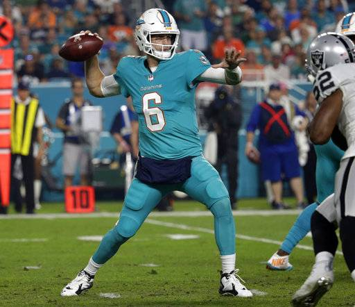Miami Dolphins quarterback Jay Cutler (6) looks to pass, during the first half of an NFL football game against the Oakland Raiders, Sunday, Nov. 5, 2017, in Miami Gardens, Fla.
