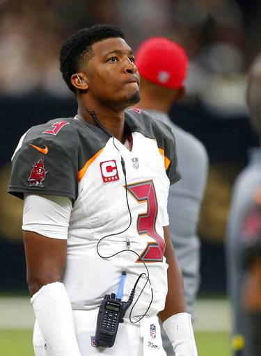 Tampa Bay Buccaneers quarterback Jameis Winston (3) watches from the sideline in the second half of an NFL football game against the New Orleans Saints in New Orleans, Sunday, Nov. 5, 2017.