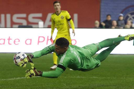 Columbus Crew's goaltender Zack Steffen blocks a shot in the second half of an MLS Eastern Conference semifinal soccer match, Sunday, Nov. 5, 2017, in New York. New York City FC won 2-0, but the Crew won the two-game match on aggregate score and advances to the conference championship.