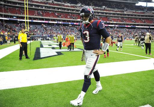 Houston Texans quarterback Tom Savage (3) walks off the field after his team's loss to the Indianapolis Colts in an NFL football game Sunday, Nov. 5, 2017, in Houston. AP Photo/Eric Christian Smith)