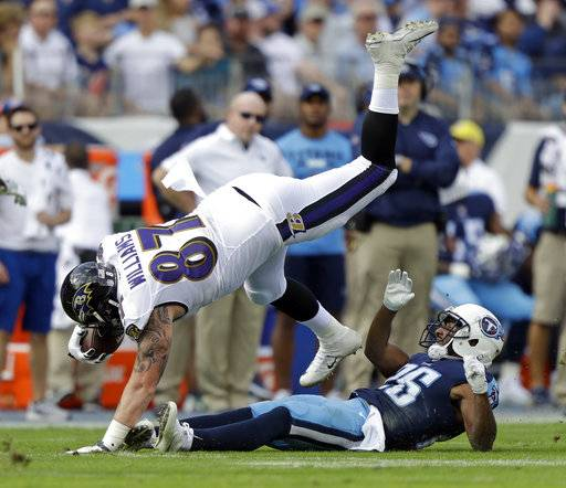 Baltimore Ravens tight end Maxx Williams (87) is tripped up by Tennessee Titans defensive back Logan Ryan (26) in the first half of an NFL football game Sunday, Nov. 5, 2017, in Nashville, Tenn.