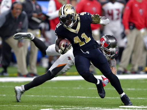 New Orleans Saints running back Alvin Kamara (41) carries in the second half of an NFL football game against the Tampa Bay Buccaneers in New Orleans, Sunday, Nov. 5, 2017.