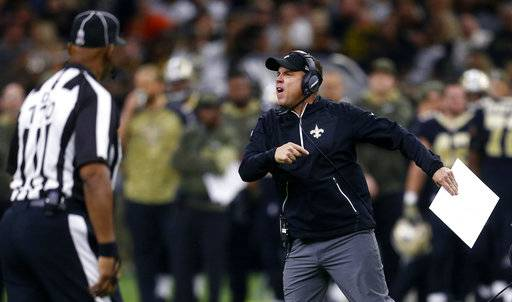 New Orleans Saints head coach Sean Payton yells on the field after a personal foul in the second half of an NFL football game against the Tampa Bay Buccaneers in New Orleans, Sunday, Nov. 5, 2017.