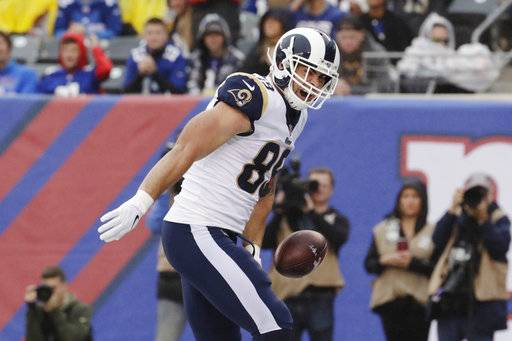 Los Angeles Rams tight end Tyler Higbee celebrates after catching a pass for a touchdown during the first half of an NFL football game against the New York Giants, Sunday, Nov. 5, 2017, in East Rutherford, N.J.
