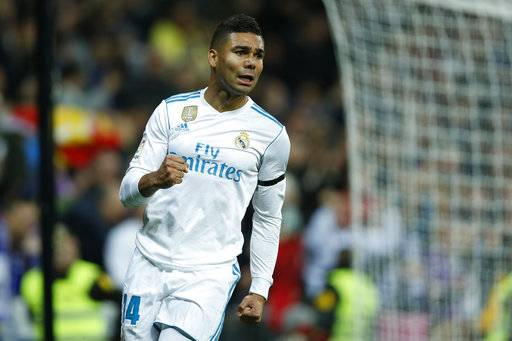 Real Madrid's Casemiro celebrates after scoring the opening goal against Las Palmas during the Spanish La Liga soccer match between Real Madrid and Las Palmas at the Santiago Bernabeu stadium in Madrid, Sunday, Nov. 5, 2017.