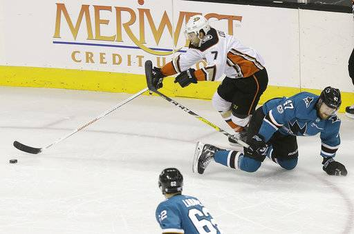 Anaheim Ducks left wing Andrew Cogliano (7) skates against San Jose Sharks defenseman Joakim Ryan (47) during the first period of an NHL hockey game in San Jose, Calif., Saturday, Nov. 4, 2017.