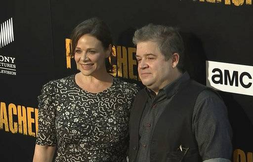 "FILE - In this June 20, 2017, file image taken from video, Meredith Salenger, left, and Patton Oswalt arrive at the premiere of AMC's ""The Preacher,"" in Los Angeles. Salenger and Oswalt married Nov. 4,  2017 in Los Angeles."
