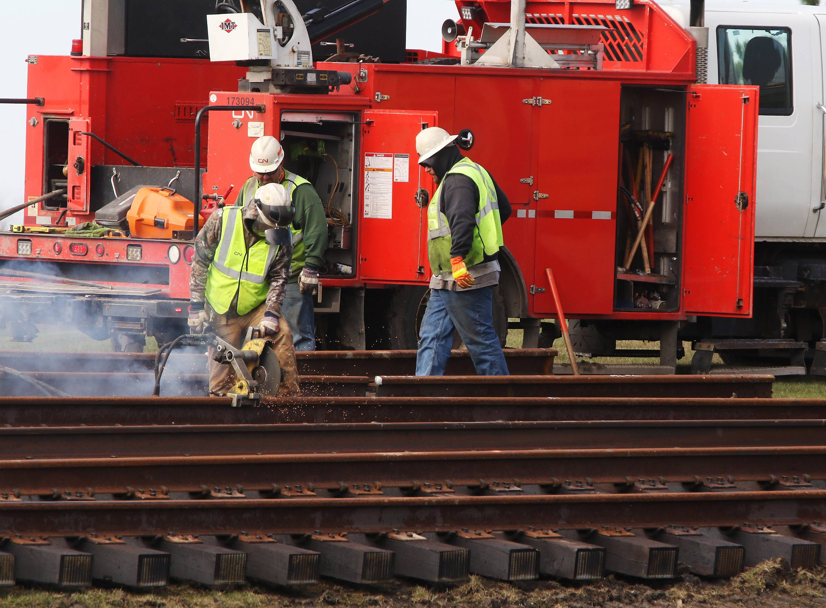 Construction crews from the Wisconsin Central Ltd. Railroad worked on the rails Monday during repair work at Hook Drive near Route 83 in Round Lake Beach. The construction will require the crossing to be closed to vehicles until Nov. 15, officials say.