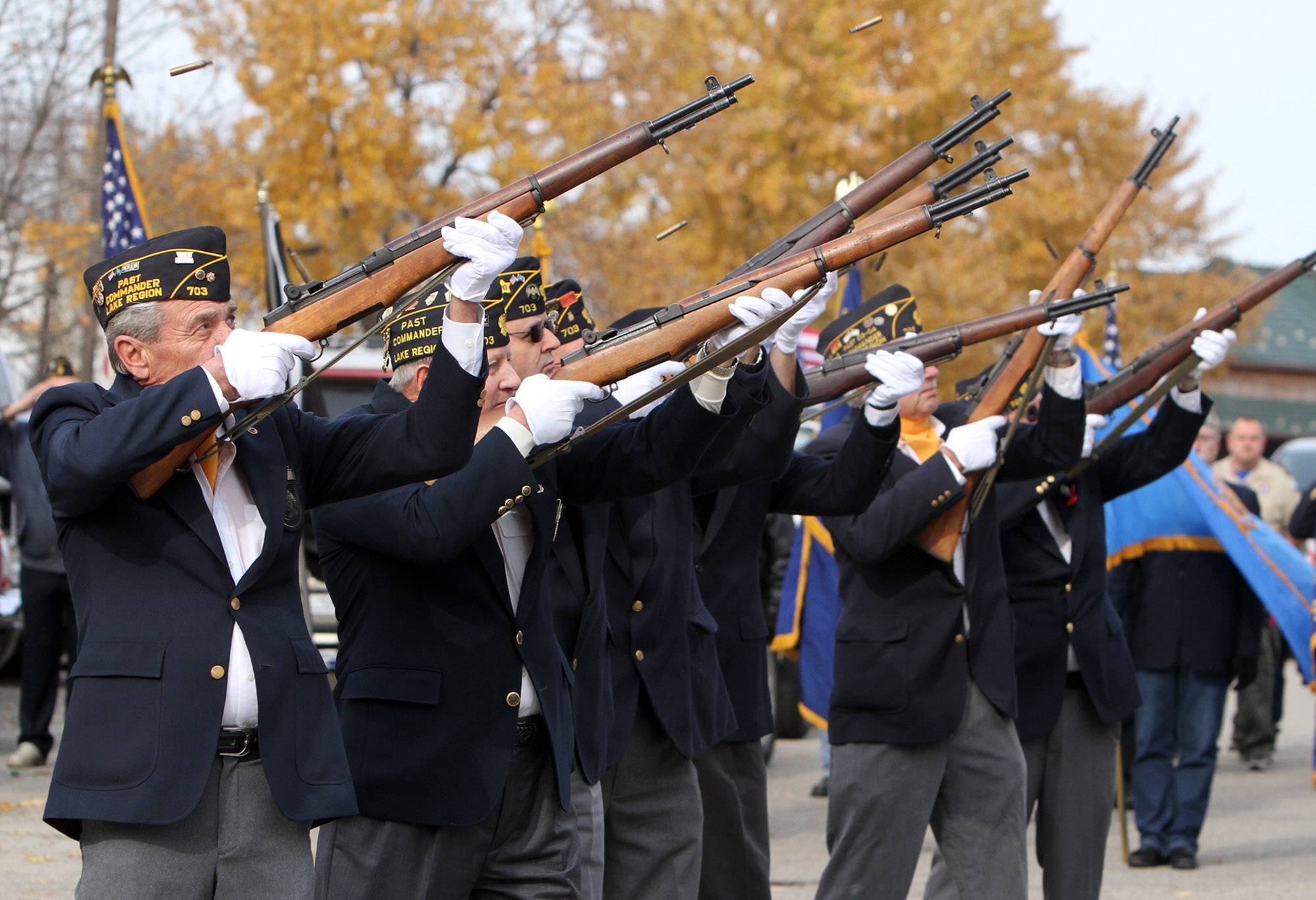 American Legion Post 703 presents a gun salute honoring veterans during a previous Veterans Day ceremony in Fox Lake. This year's remembrance is at 11 a.m. Nov. 11 at Veterans Memorial at the Metra Station in Fox Lake.