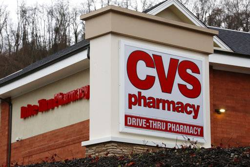FILE - This Wednesday, Jan. 18, 2017, file photo shows a CVS Pharmacy in Pittsburgh. CVS Health Corp. reports earnings, Monday, Nov. 6, 2017.