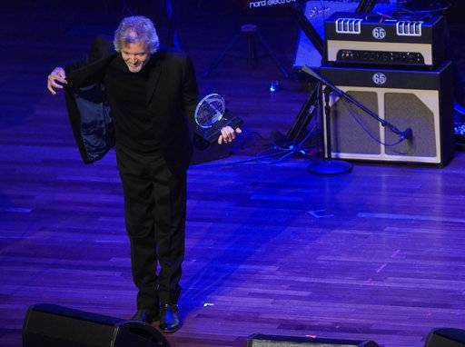 Rodney Crowell accepts the The ASCAP Founders Award during the 55th Annual ASCAP Country Music Awards at the Ryman Auditorium on Monday, Nov. 6, 2017, in Nashville, Tenn. (Photo by Sanford Myers/Invision/AP)