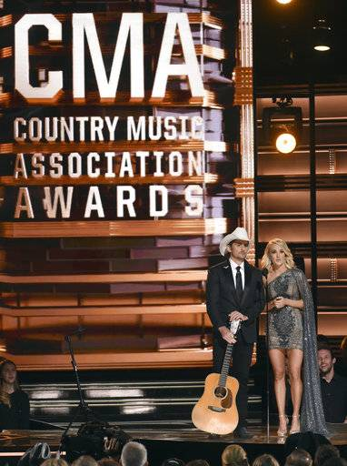 Brad Paisley and Carrie Underwood will be hosting Wednesday's CMA Awards in Nashville, Tenn.