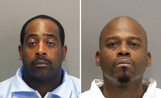 This undated, combination photo released by the Santa Clara County Department of Corrections shows Tramel McClough, left, and John Bivins, right. Authorities say the two jail inmates, McClough and Bivins, charged with tying up employees at gunpoint during a cellphone store robbery made a dramatic escape Monday, Nov. 6, 2017, from a suburban Silicon Valley courthouse, fleeing in a car waiting outside for them, officials said. (Santa Clara County Department of Corrections via AP)
