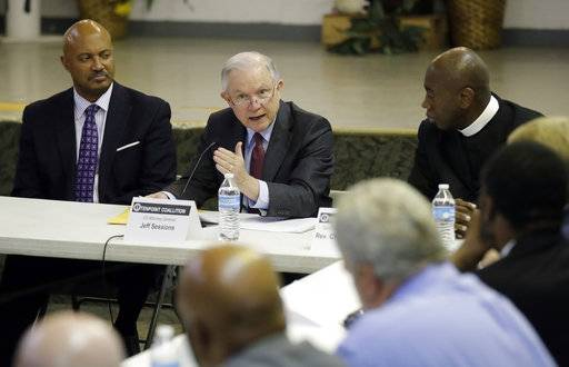 U.S. Attorney General Jeff Sessions speaks to members of the Indianapolis Ten Point Coalition, Nov. 6, 2017, in Indianapolis. The group is known for its campaigns to stem violence in crime-plagued neighborhoods.