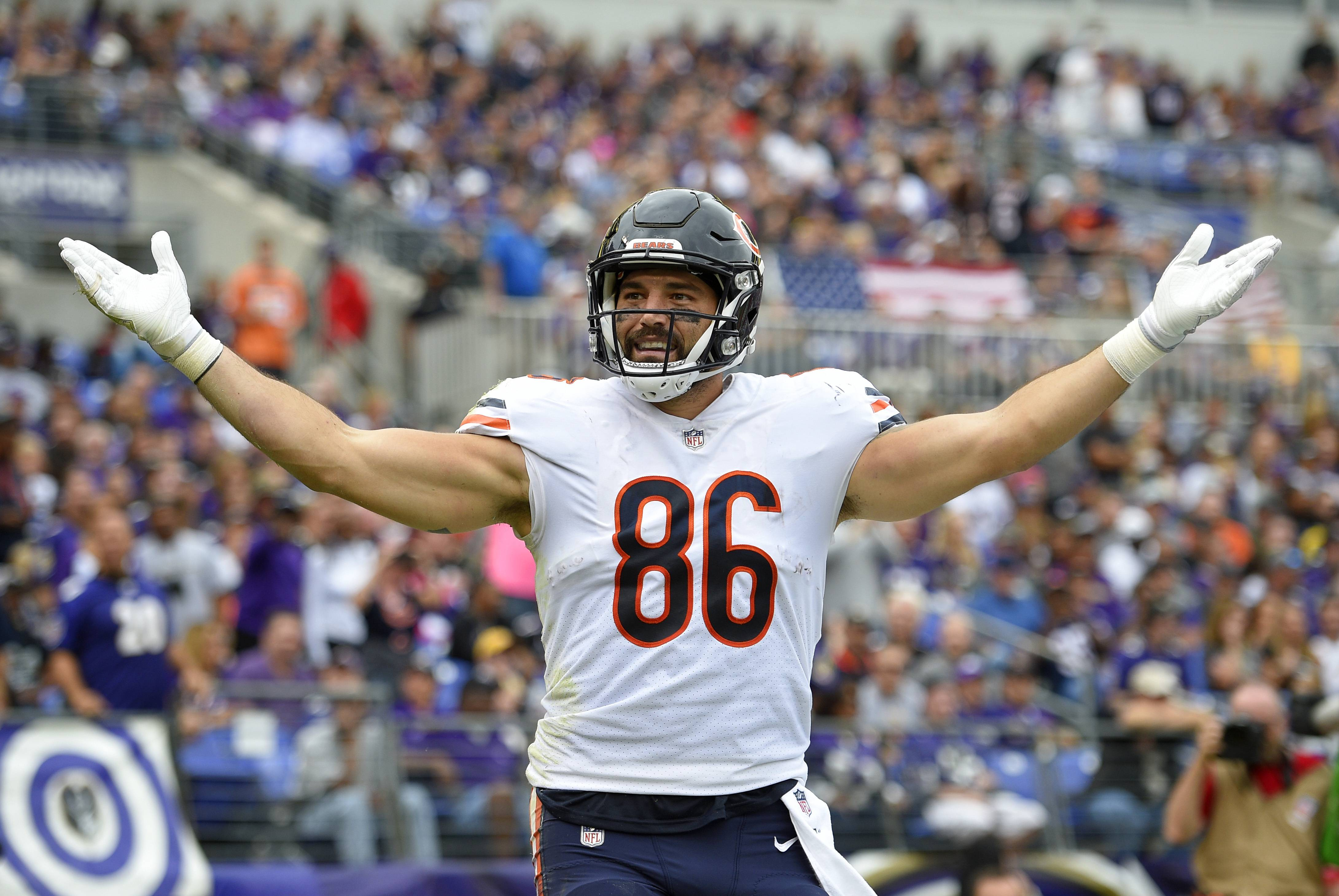 Chicago Bears tight end Zach Miller celebrates after scoring a touchdown in the first half of an NFL football game against the Baltimore Ravens, Sunday, Oct. 15, 2017, in Baltimore.