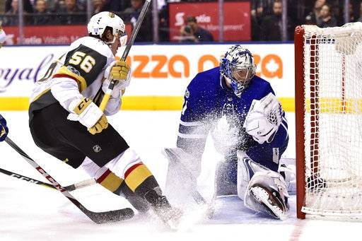 Toronto Maple Leafs goalie Frederik Andersen (31) makes a save against Vegas Golden Knights left wing Erik Haula (56) during the shootout in an NHL hockey game, Monday, Nov. 6, 2017, in Toronto. (Frank Gunn/The Canadian Press via AP)