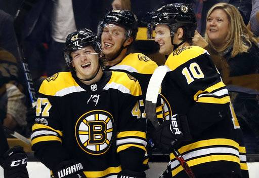 Boston Bruins' Torey Krug (47) shares a laugh with David Pastrnak and Anders Bjork (10) after his goal against the Minnesota Wild during the second period of an NHL hockey game in Boston Monday, Nov. 6, 2017.