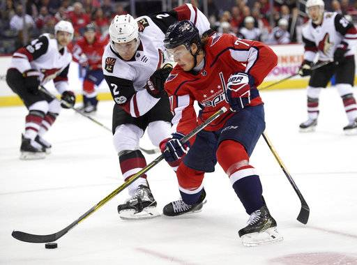 Arizona Coyotes defenseman Luke Schenn (2) battles for the puck against Washington Capitals right wing T.J. Oshie (77) during the first period of an NHL hockey game, Monday, Nov. 6, 2017, in Washington.