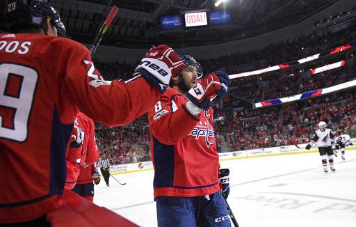 Washington Capitals left wing Alex Ovechkin (8), of Russia, celebrates his goal with defenseman Christian Djoos (29), of Sweden, during the second period of an NHL hockey game against the Arizona Coyotes, Monday, Nov. 6, 2017, in Washington.