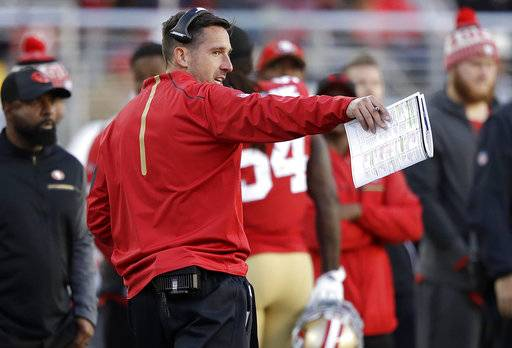 San Francisco 49ers head coach Kyle Shanahan gestures during the second half of an NFL football game between the 49ers and the Arizona Cardinals in Santa Clara, Calif., Sunday, Nov. 5, 2017.