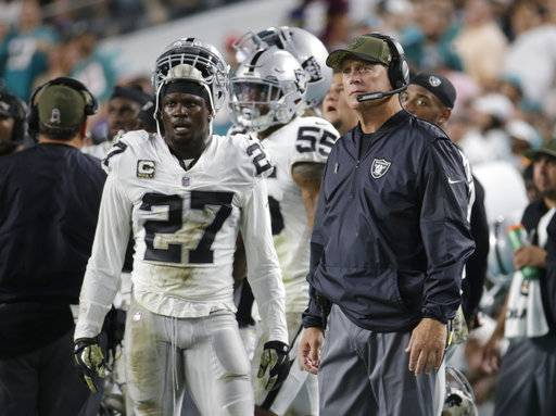 Oakland Raiders head coach Jack Del Rio and free safety Reggie Nelson (27) reacts after the Miami Dolphins scores a touchdown, during the first half of an NFL football game, Sunday, Nov. 5, 2017, in Miami Gardens, Fla.