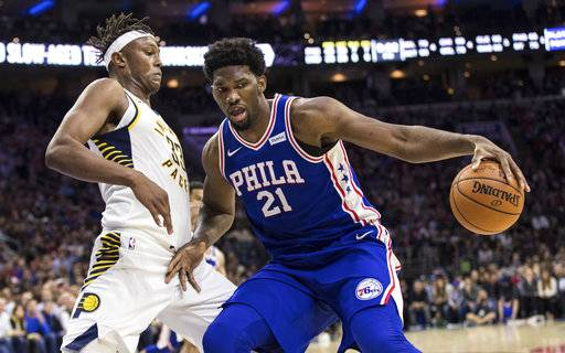 Philadelphia 76ers' Joel Embiid works against Indiana Pacers' Myles Turner, left, during the second half of an NBA basketball game, Friday, Nov. 3, 2017, in Philadelphia. The 76ers won 121-110.