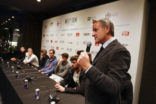 "ATP President Chris Kermode, gestures during a press conference to present the ATP Next Gen Finals tennis tournament, in Milan, Italy, Monday, Nov. 6, 2017. Organizers apologized Monday for a ceremony involving female models provocatively revealing the letters ""A'' or ""B'' to determine the draw for the ATP's Next Gen Finals tennis tournament. The ceremony on Sunday was supposed to highlight Milan's status in the fashion industry."