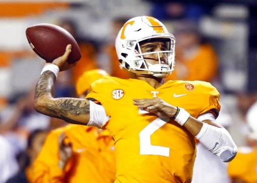 Tennessee quarterback Jarrett Guarantano (2) throws to a receiver during warmups before an NCAA college football game against Southern Mississippi, Saturday, Nov. 4, 2017, in Knoxville, Tenn.