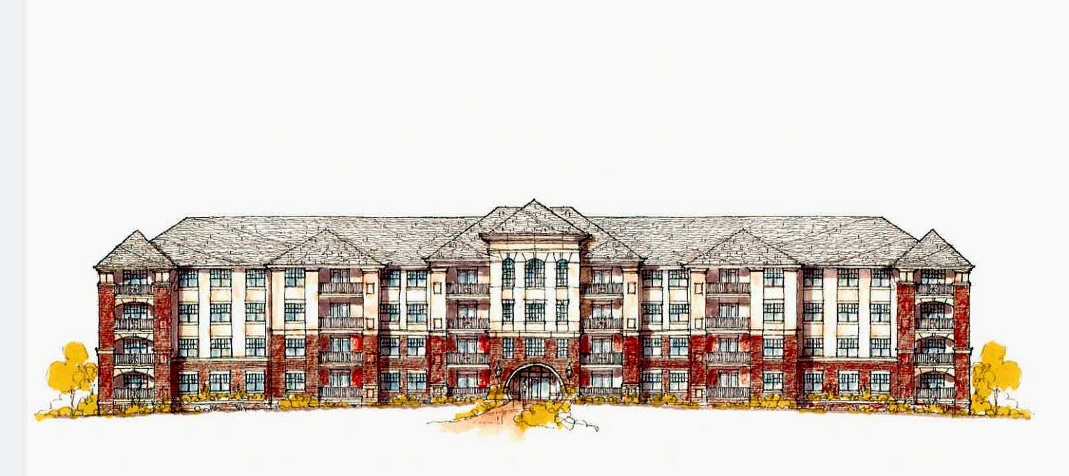 A four-story apartment complex, shown in this rendering, could transform a site south of the Glen Ellyn Public Library.