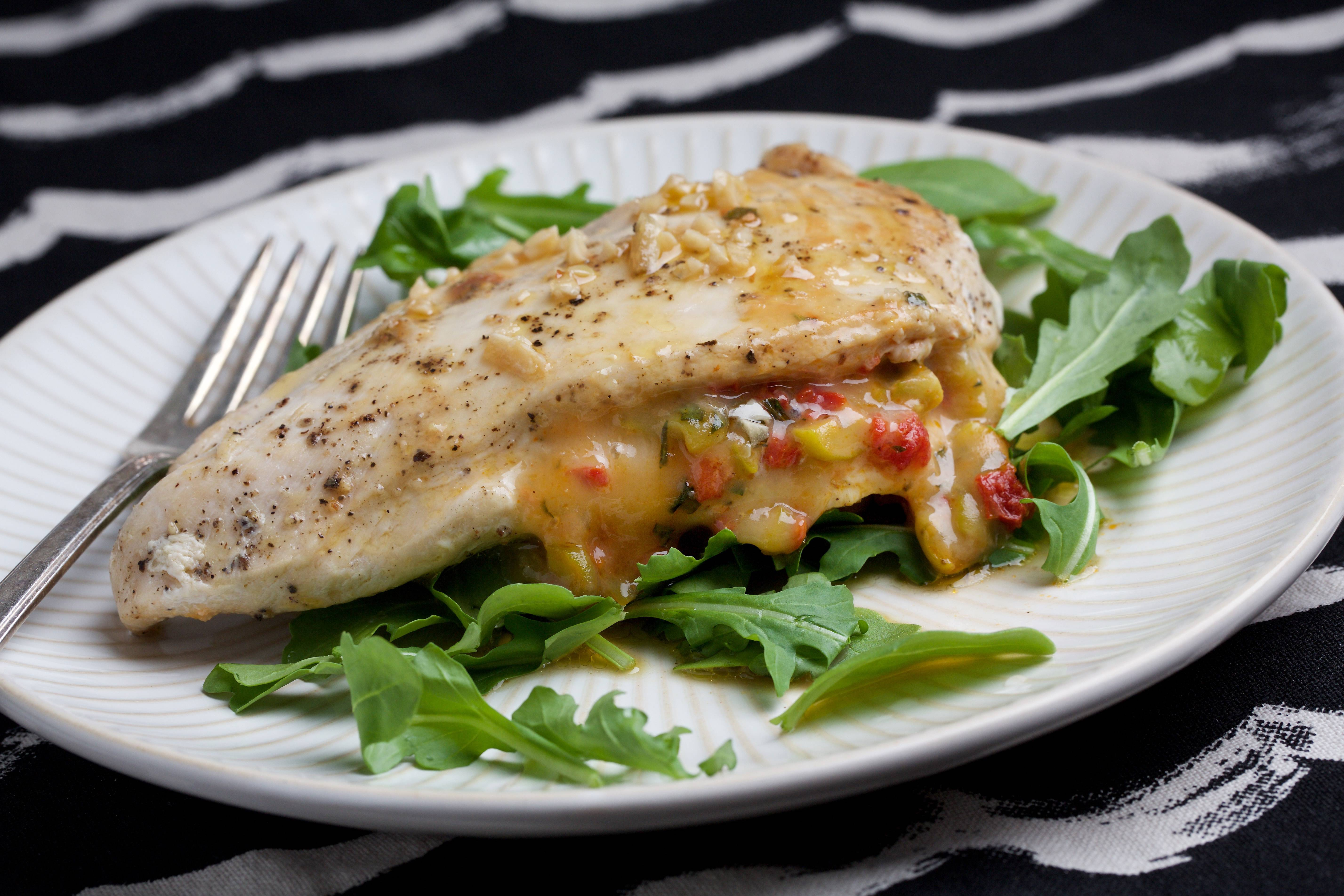 Roasted Red Pepper Stuffed Chicken Breasts are best prepared with chicken breast halves that are about the same size.