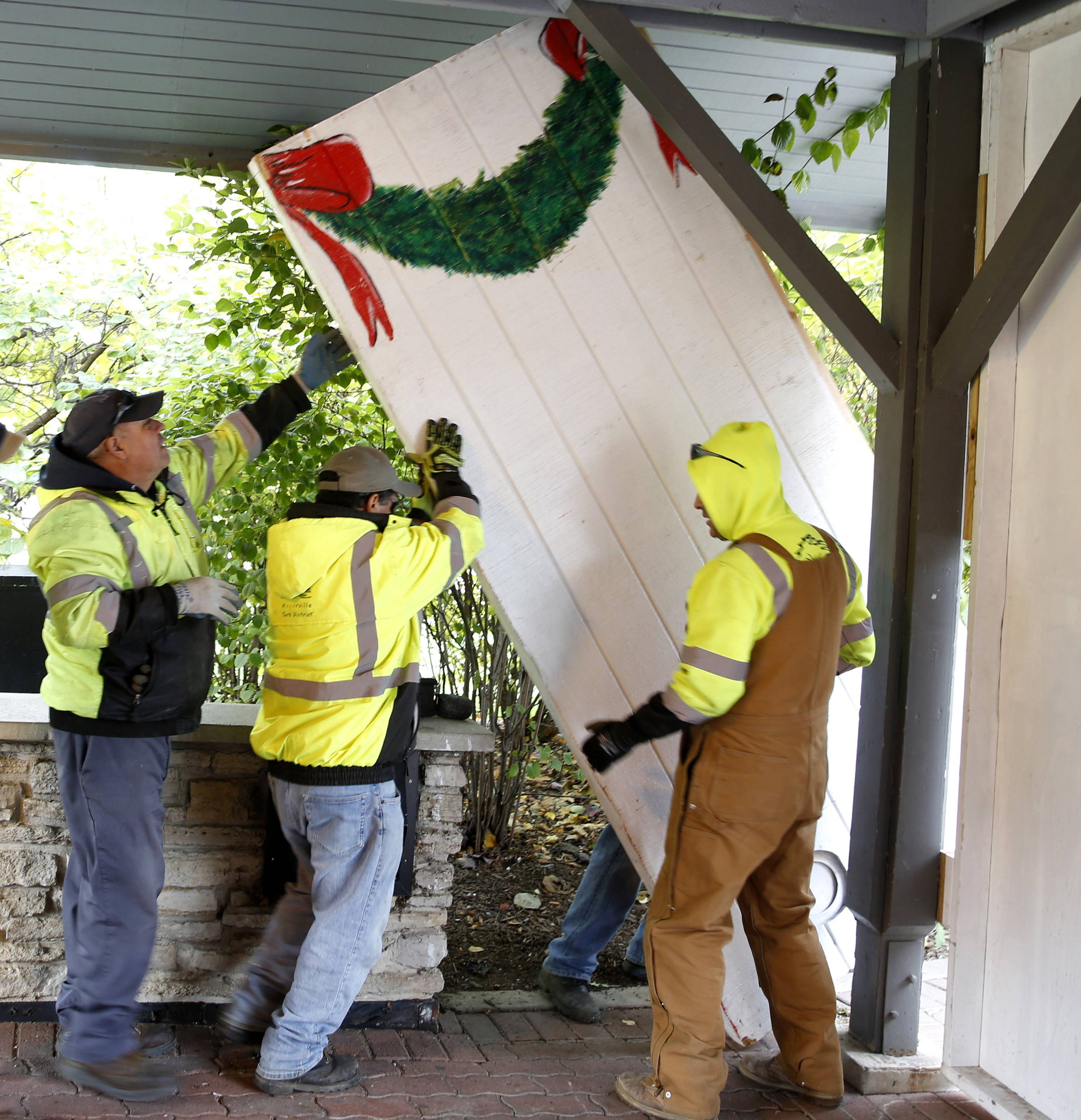 Santa won't arrive for several more weeks, but Naperville Park District's Santa House already is taking shape along the Riverwalk.