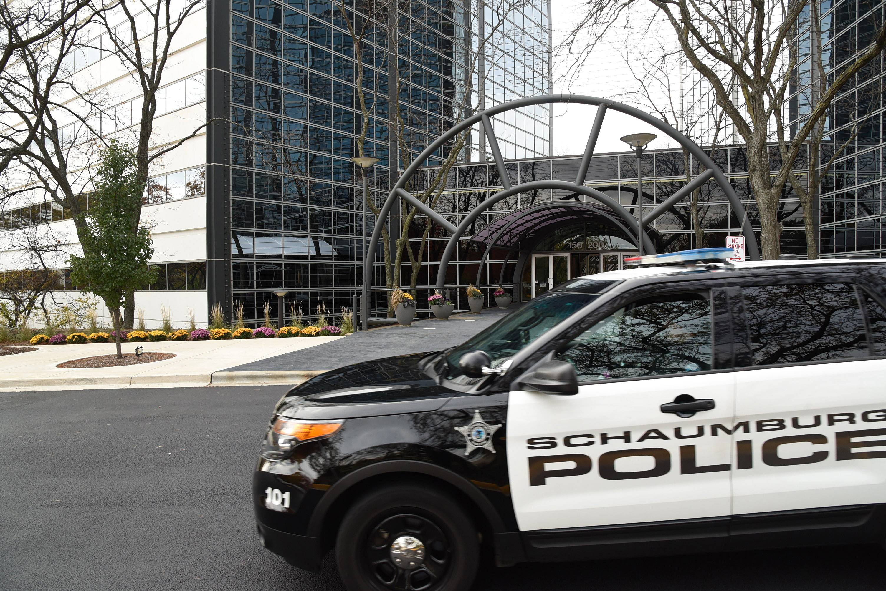 Schaumburg police responded to a report Tuesday morning of a suspicious man with a gun in an office complex at 150 N. Martingale Road. Investigators later determined that a technician's maintenance equipment was mistaken for a firearm.