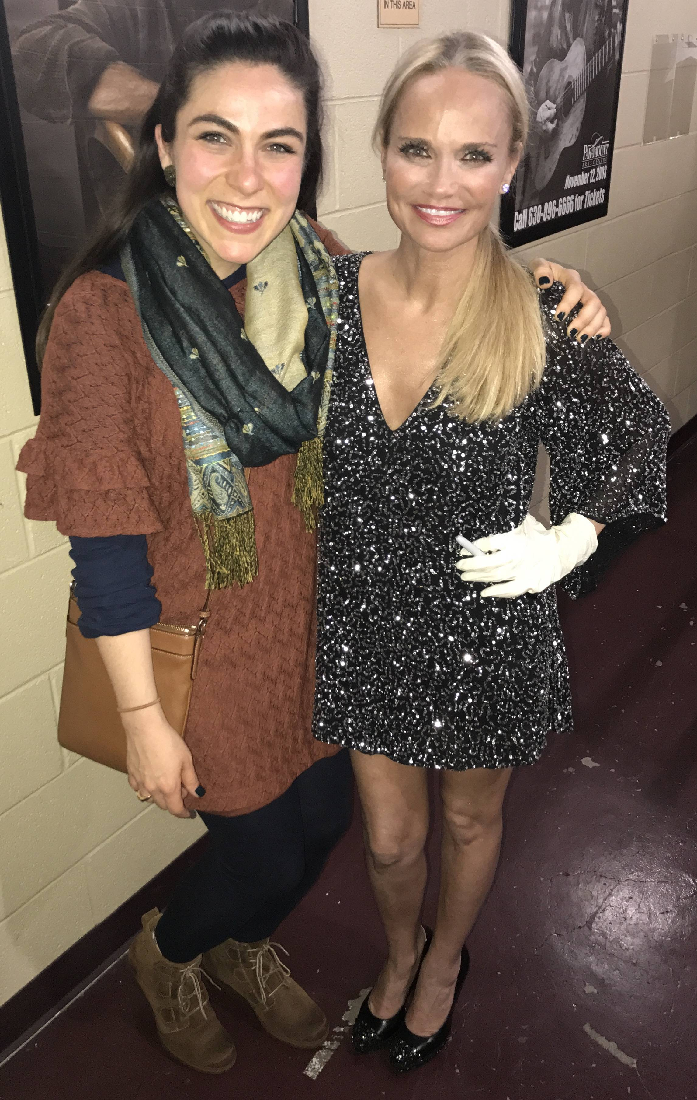 "Libertyville teacher Allison Zabelin shares a moment backstage with Kristin Chenoweth after they performed a duet of ""For Good"" from the musical ""Wicked"" at Aurora's Paramount Theatre."