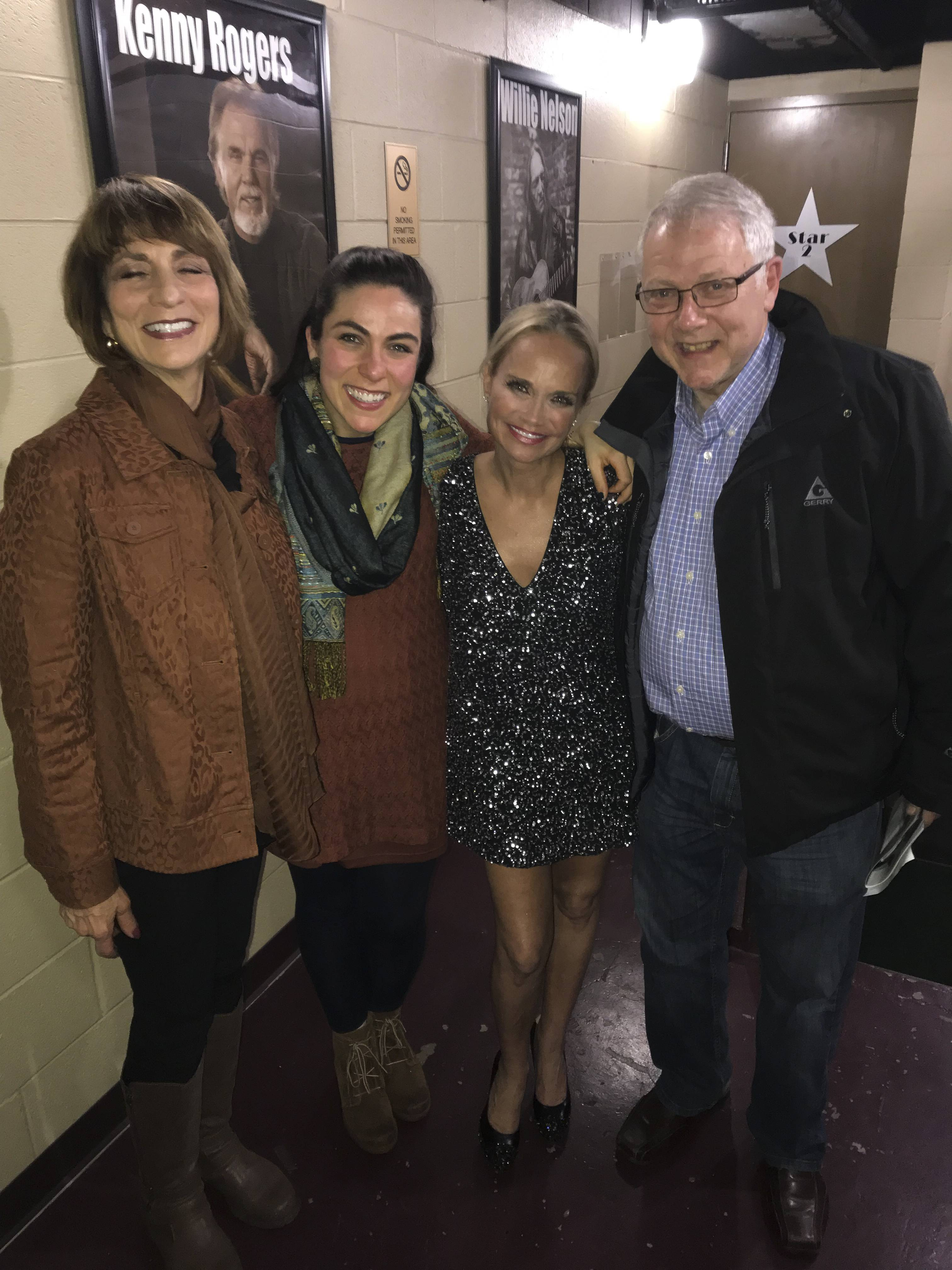 Kristin Chenoweth poses backstage with Allison Zabelin and Allison's parents, Barbara Sered-Zabelin and Don.