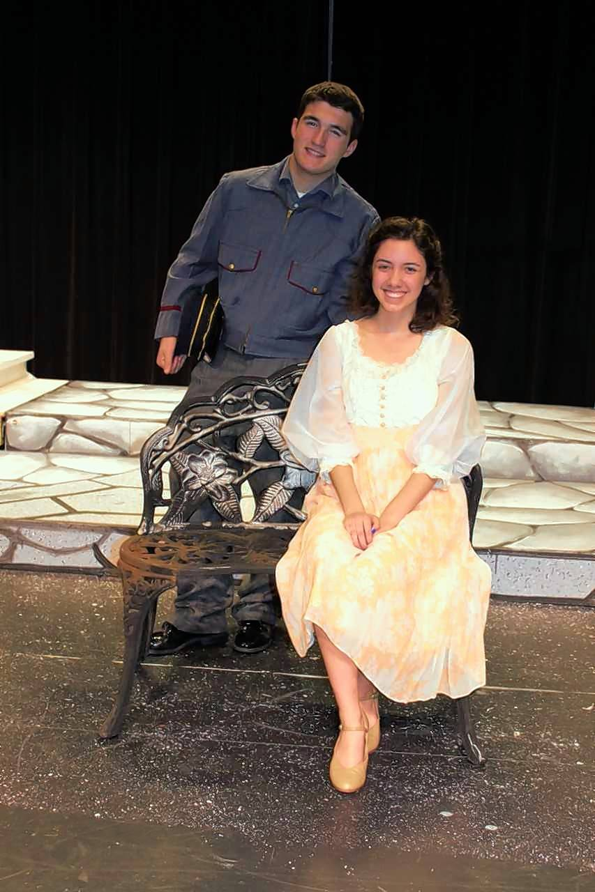 "Rolf (Cameron Merker) and Liesl (Hannah Noel) rehearse ""Sixteen Going on Seventeen"" for Rosary High School's production of ""The Sound of Music."""