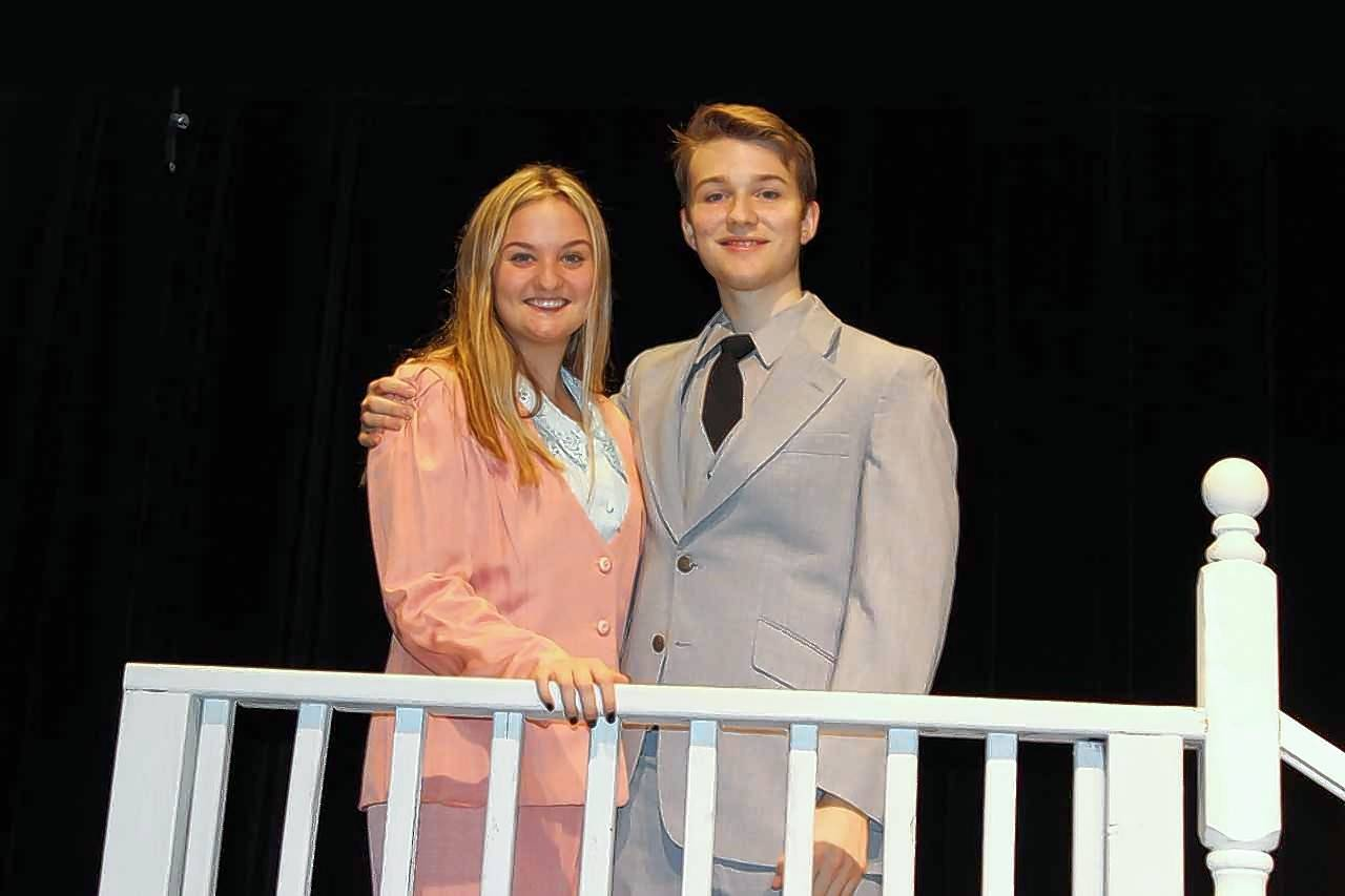 "Maria (Abbey Loria) and Captain von Trapp (Greg Weir) at rehearsal for Rosary High School's production of ""The Sound of Music."""