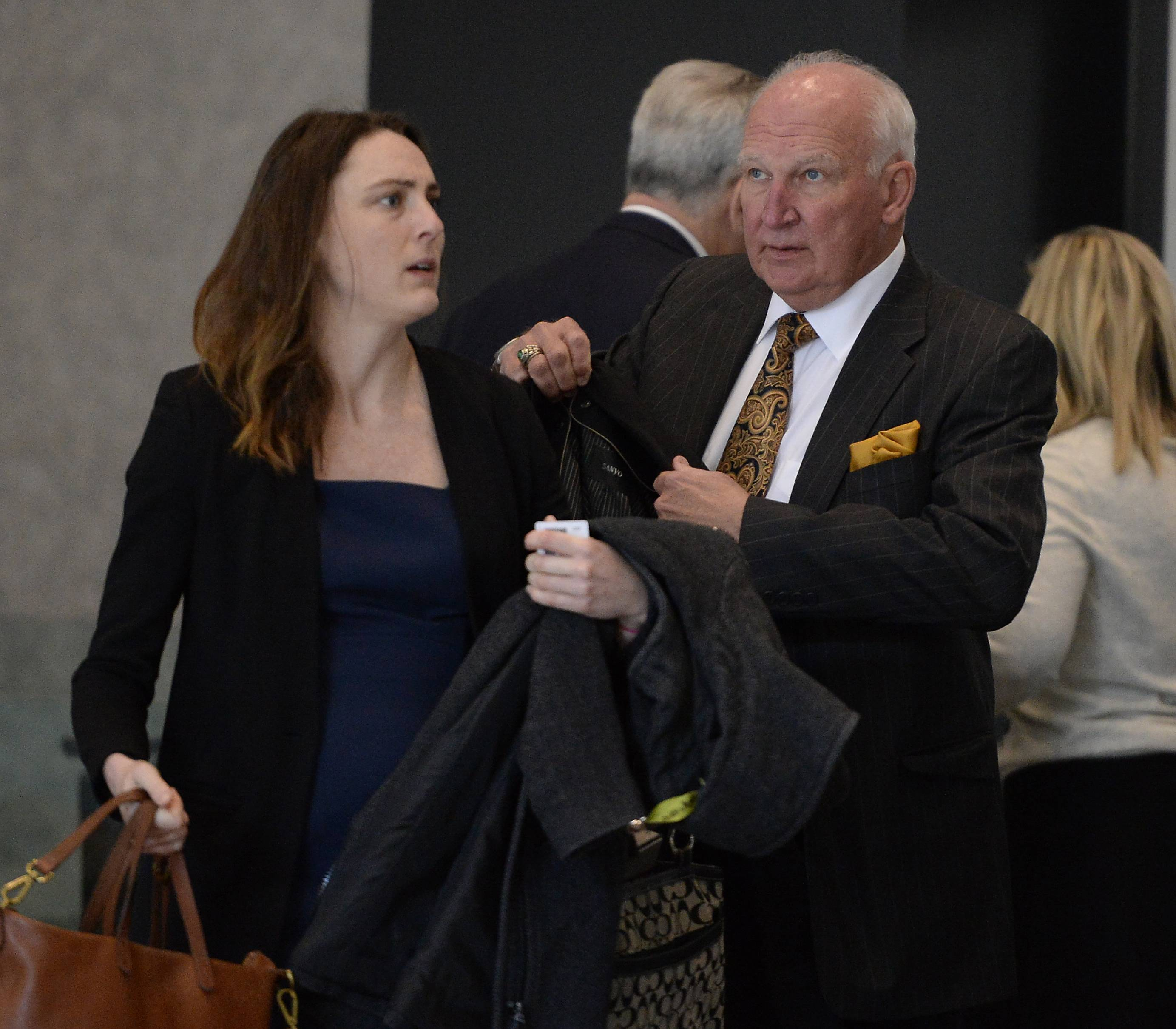 Former College of DuPage President Robert Breuder walks into federal court Tuesday for an appellate court hearing concerning the validity of his contract with the school at the time of his October 2015 firing.