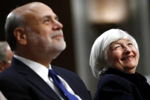 Federal Reserve Chair Janet Yellen, right, and former Federal Reserve Chair Ben Bernanke smile during introductions at a ceremony awarding them both with the Paul H. Douglas Award for Ethics in Government, Tuesday, Nov. 7, 2017, on Capitol Hill in Washington.