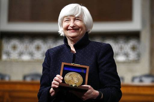Federal Reserve Chair Janet Yellen is awarded the Paul H. Douglas Award for Ethics in Government, Tuesday, Nov. 7, 2017, on Capitol Hill in Washington.