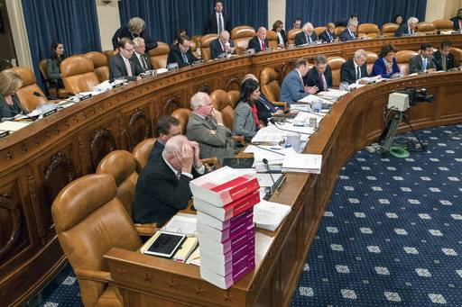 Members of the tax-writing House Ways and Means Committee work to shape the GOP's far-reaching tax overhaul, on Capitol Hill in Washington, Monday, Nov. 6, 2017.
