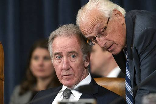 Rep. Richard Neal, D-Mass., left, the ranking member of the Ways and Means Committee, confers with Rep. Bill Pascrell, D-N.J., during the markup process of the GOP's far-reaching tax overhaul, on Capitol Hill in Washington, Monday, Nov. 6, 2017.
