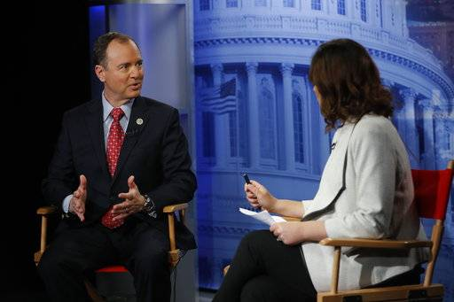 Rep. Adam Schiff, D-Calf., answers questions during an interview with Julie Pace, AP chief of bureau in Washington, Tuesday, Nov. 7, 2017, at the Associated Press bureau in Washington.