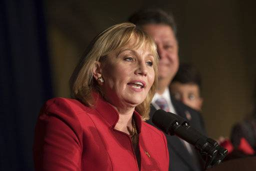 Kim Guadagno gives her concession speech Tuesday, Nov. 7, 2017, in Aberdeen, NJ. (Russ Desantis/NJ Advance Media via AP)