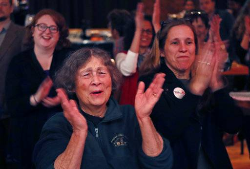 Chris Hastedt, left, Robyn Merrill cheer during an announcement while awaiting results at the Mainers for Health Care election night party, Tuesday, Nov. 7, 2017, in Portland, Maine. Voters in Maine will decide if they want to join 31 other states and expand Medicaid under former President Barack Obama's Affordable Care Act. It's the first time since the law took effect that the expansion question has been put before voters